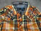 Mens ROAR KIDS YOUTH SIZE Shirt Western Style Plaid Faded Orange Wash Embroidery