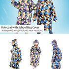 Kids Children Boys Girls Rain Raincoat Jacket Waterproof With School Bag Cover