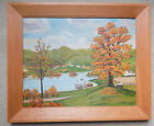New England Fall Harbor Town Original Painting Naive Folk Art Great Condition