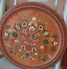 Vintage Round Wood Plate Platter Hand Painted Folk Art 1965 Signed