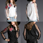 Sexy Women's Tops Blouse Mesh Embroidery Flower Splicing Long Sleeve Shirt Y2I4