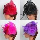 US Women Feather Fascinator Hat Head Clip Wedding Party Church Headpiece Wrap