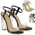 Womens Perspex Heel Sandals Ladies Elasticized Ankle Strap Prom Party Shoes Size