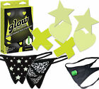 Внешний вид - Crotchless Glow-in-Dark Thong G-String Panty Nipple Pasties Breast Cover 3pc Set