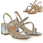 Womens Diamante Strappy Sandals Ladies Block Low Mid Heel Shoes Size 3-8