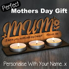 Personalised Wooden Candle Tea Light Birthday Gifts for Mum Mummy Granny Grandma