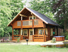 24 ft x 28 ft 1,356 sq ft Log Cabin Kit 2 Story 3 Bed Wooden Guest House / Home
