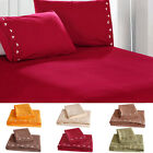 4Pcs Polyester Bed Cover Fitted Sheet Pillow Case Bedding Set High Quality X7O7 image