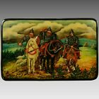 Old Hand Painted Russian Lacquered Wood Box 3 Russian Knights or Warriors Russia