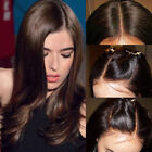 Trendy Dark Brown Real Human Hair Lace Front Wigs Straight Body Wave Full Wigs V