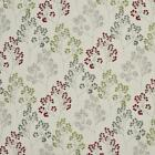 Essentials Upholstery Drapery Floral Fabric / Red Lime Gray White