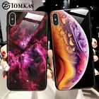 TOMKAS Luxury Space Cover Case for iPhone X XS MAX XR XS Glass Silicone Phone