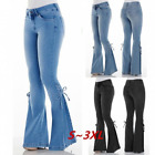 Women High Waist Flare Bell Bottom Jeans Slim Lace Up Sides Wide Leg Denim Pants