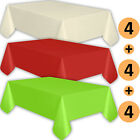 12 Plastic Tablecloths - Ivory, Red, Lime Green - Premium Thickness Disposable
