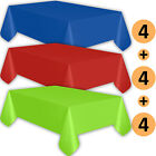 12 Plastic Tablecloths - Sapphire Blue, Red, Lime Green - Premium Thickness