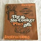 Vintage WEST BEND The Slo-Cooker Plus Crockpot Griddle Recipe Instruction Manual