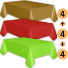12 Plastic Tablecloths - Gold, Red, Lime Green - Premium Thickness Disposable