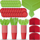Paper Tableware Set for 24 - Red & Lime Green - Dinner and Dessert Plates,