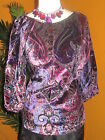 DUE PER DUE  NWT $80 MEDIUM women's shirt paisley purple pink velvet tunic
