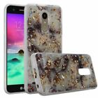 For LG Aristo 2/Fortune 2/Tribute Dynasty Marble Hard TPU Glitter Case Cover