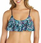Island Soul Juniors Tropical Palm Flounce Bikini Top