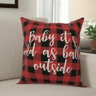 Corrine Baby it's Cold as Balls Outside in Buffalo Check Plaid Throw Pillow