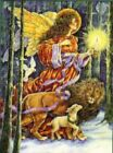 """five  """"Angel's Light """" Lion & Lamb animal Christmas cards by artist Donna Race"""
