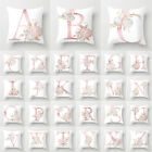 Alphabet Letter A-Z Pillow Case Floral Cushion Cover Sofa Dorm Waist Home Decor image