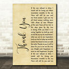 Thank You Rustic Script Song Lyric Quote Print