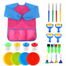 VEYLIN Kids Paintbrushes & Sponge Painting Supplies Brushes Paint Bowls Spill 25