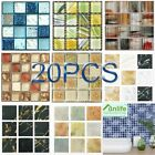 20pcs Self Adhesive Mosaic Tile Sticker Marble Effect Diy Kitchen Bathroom Decor