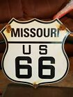 Vintage ROUTE US 66 STATE HIGHWAY STREET ROAD MARKER PORCELAIN SIGN 12""