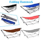 Folding Hammock Sleeping Chair W/ Stand Chair Seat Garden Camping Durable Oxford