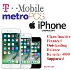 T Mobile MetroPCS FACTORY UNLOCK SERVICE FOR I PHONE XS XS MAX Inactive/Financed