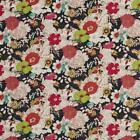 Essentials Drapery Upholstery Floral Print Fabric / Black Red Lime
