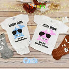 UK Newborn Kid Baby Little Brother Big Sister Romper T-shirt Outfit Clothes gre