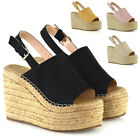 Womens Wedge Heel Sandals Strappy Platform Ladies Peep Toe Espadrilles Shoes 3-8