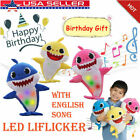 LED Flicker Baby Shark Doll Singing Music Toys English Song Toy Plush Kid Gift