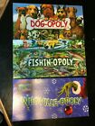 Dog-opoly - Fishin-opoly - Whoville-opoly - Lot of 3 Monopoly games NEW