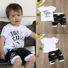 US Toddler Kids Baby Boys Shark Tops T-shirt Shorts Pants Outfits Summer Clothes