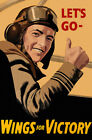 Let's Go - Wings For Victory - 1943 - World War II - Propaganda Poster $9.99 USD on eBay