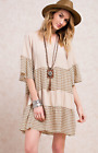 EASEL ANTROPOLOGIE BRAND Sleeve printed woven dress Color Tan, Size S NWT.