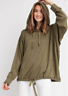 EASEL ANTROPOLOGIE  LS 2TONE HACKISH KNIT HOODIE PULLOVER TOP Color olive Size L