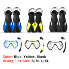 Adults Diving Mask Glasses Breathing Tube Swimming Fins Flippers Snorkeling Set