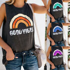 "Fashion Womens Summer Casual Tank Top ""Rainbow GOOD VIBES"" Sleeveless Shirt Vest"