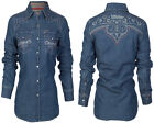 AFFLICTION Women Button Down Shirt WAIT YOUR TURN Embroidered BKE Buckle $88 NWT