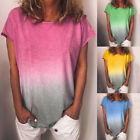Women Casual  Loose Gradient Summer Short Sleeve T-Shirt Tunic Blouse Tops Tank