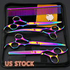 US Professional Dog Pet Grooming Scissors Kit Cutting Thinning Curved Shears Set
