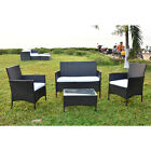 4 Pieces Rattan Garden Furniture Weave Wicker Sofa Chair Table Patio 3-4 Seater
