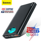 Baseus 20000mAh LED Power Bank USB Type C PD 3.0 Quick Charge External Battery